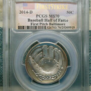 Pcgs Ms70 Baltimore First Pitch 2014-d Half Dollar Baseball Hall Of Fame Rare