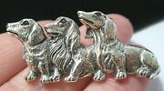 Sterling Silver Ruby Dachshund Sausage Dogs Puppy Brooch Pin Vintage Style