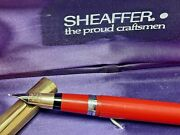 Vintage Sheaffer Fountain Pen Red And Gold Cap Nib 14k Made In U.s.a