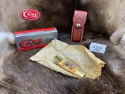 Case 1992 Stag 5197l Ss Lockback Knife With Leather Sheath Mint In Box +++++++++