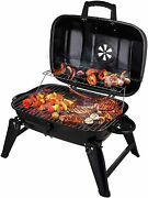 Charcoal Grill, Portable Grill Bbq And Smoker With Lid Folding Tabletop Grills,