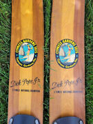 Cypress Gardens 67.5andrdquo Vintage Wood Water Skis Dick Pope Jr. Cabin Decor Man Cave