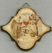 Antique Black Horse Tavern Hand Painted Ceramic Hanging Brooch 2.5 H X 2.75 W