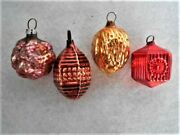 4 Antique Vintage German Bumpy Textured Glass Feather Tree Christmas Ornaments