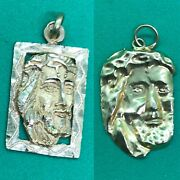 Pair Of Antique 21ct Yellow Gold Pendant Of Holy Religious Man Jesus Cries
