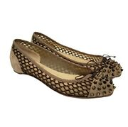 Christian Louboutin Mix Spiked Toe Mesh Suede Ballet Flats Beige Size 37 Us 7