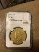 1851 Xf45 Ngc Liberty Double Eagle Type 1 20 Gold Coin Rare Very Nice