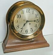 Excellent Bronze Large Working 8dial Chelsea Ships Bell Chime Clock Walnut Base