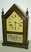 Antique New Haven Vermont Gothic Cottage Steeple 8 Day Chime Clock Working