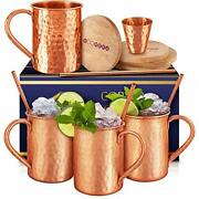 [gift Set] Moscow Mule Mugs Set Of 4 16 Oz. Solid Genuine 100 Pure Copper Cups