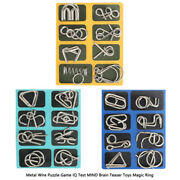 Metal Wire Puzzle Game Iq Test Mind Brain Teaser Toys Magic Ring Gift A+b+c F7