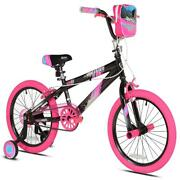 18 Girls Bike Steel Frame Pink Bicycle With Adjustable Training Wheels And