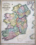 1845 Very Large Original Antique Map - I Slater's New Map Of Ireland Lm18