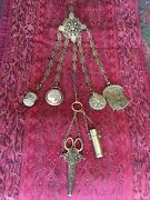 Rare Beautiful Antique Six Element Chatelaine And Chains Exceptional Fine Detail