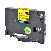 80pk Tz631 Label Tape Black On Yellow Tze631 For Brother P-touch Pt-2110 12mm