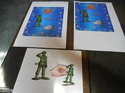 3 Lot Original Art And Proof Ad Poster Disney Toy Story Burger King Wind-up Army