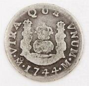 1744 Mexico 1 Real Silver Coin M Km-75.2 Circulated