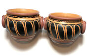 Italian Pottery Company Discontinued Etruscan Planters 2 Set Authentic Italy
