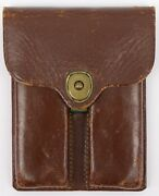 Jqmd Brown Leather Dual Magazine Pouch Carrier 1949 E.n.s. For Colt 1911 Vintage