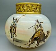 Handel Middle Eastern Egyptian Bedouin Hand Painted Gold Vase Lamp Base Auction