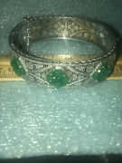 Victorian Filigree Green Carved Stones Hinged Bangle Bracelet Safety Chain