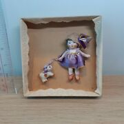 558 Antique Hertwig Germany All Bisque Doll In Purple Lace Dress W Dog In Box,3