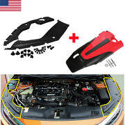 For 16-21 Honda Civic Jdm Red Blk Type-r Style Engine Cover + Side Panel Cover