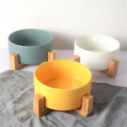 Ceramic Cat/dog Bowl Dish With Wood Stand No Spill Pet Food Water Feeder Bovv