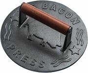 Black Heavy-duty Cast Iron Bacon Grill Press With Wood Handle - 8.5-inch Round