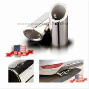 Us Stock 58mm - 68mm Steel Silver Auto Car Tail Exhaust Tip Pipe For Bmw