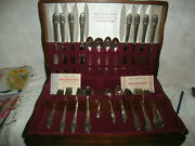 Antique 1847 Rogers Bros 52 Pc Set Silver Plate Flatware First Love W/case