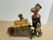 Marx / Tin-litho Popeye Baggage Express Wind Up With Parrot On Topdoes Not Wind