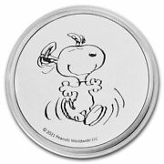 2021 Peanuts Snoopy 1 Oz Silver Round Not Colored .999 1 Oz Silver Snoopy