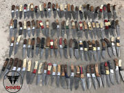 Lot Of 100 Damascus Steel Hunter Knives With Leather Sheath