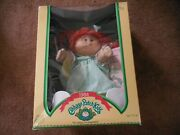 Vintage Cabbage Patch Kids Red Head Girl Doll Nrfb Pigtails Green Dress Thelma