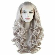 Cbwigs Long Wavy Gray Synthetic Lace Front Wigs For Women Heat Resistant 20
