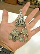 Antique Middle East Hand Engraved Silver Medal Inked Silver Necklace Bedouin