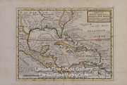1729 Antique Map Of The West-indies Mexico Or New Spain Herman Moll