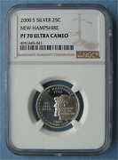 2000 S Silver Proof New Hampshire State Quarter Ngc Pf 70 Ultra Cameo 25c Pr70