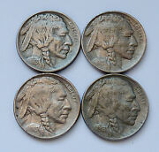 Lot Of 4 1913-p Type 1 - U.s. Buffalo Nickels - Extra Fine Condition