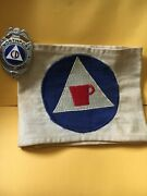 U.s. Civil Defense Northport Badge And Emergency Food And Housing Armband