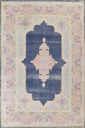 Antique Navy Blue Kirman Hand-knotted Large Area Rug Geometric Oriental 10'x13'
