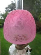 Antique Victorian Embossed And Acid Etched Cherub Cranberry Duplex Oil Lamp Shade