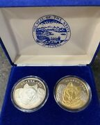 2 Set -1993 Official Alaska State Medallion Wolf 1 Troy Ounce .999 Silver Proof