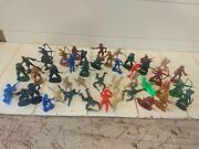 Lot Of 1960and039s 70and039s Cowboys Indians Army Men Gas Station 44 Plastic Toy Figures