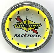 16 Sunoco Race Fuels Gasoline Sign Yellow Neon Clock Gas Station Oil Lube