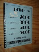 1965 And Later Ford 2000 3000 4000 5000 Tractor Operators Manual Owners Guide