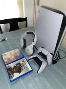 Sony Ps5 Blu-ray Edition Console - White Bundle Lightly Used W/ Box And Extras