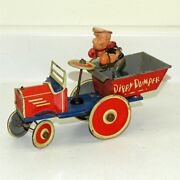 Vintage Marx Tin Litho And Celluloid Popeye Dippy Dumper, Wind Up Toy Vehicle