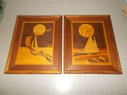 Sailboat Marquetry Sailing Pictures Pair Handcrafted Wood Jeffrey Nelson 12x15